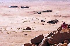 Ιορδανικό βεδουίνο στρατόπεδο σκηνών στο ρούμι Ιορδανία Wadi Στοκ φωτογραφία με δικαίωμα ελεύθερης χρήσης