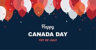 1 Ιουλίου Ευτυχής ευχετήρια κάρτα ημέρας του Καναδά Έμβλημα εορτασμού με τα πετώντας μπαλόνια στα καναδικά χρώματα σημαιών ελεύθερη απεικόνιση δικαιώματος