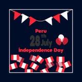 28 Ιουλίου Ευτυχής ημέρα της ανεξαρτησίας του Περού Υπόβαθρο εορτασμού με τις σημαίες, το μπαλόνι και το κείμενο επίσης corel σύρ Στοκ Εικόνα