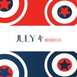 4 Ιουλίου ημέρα της ανεξαρτησίας Αστέρια, κόκκινο, μπλε λευκό κύκλων, καπετάνιος America Icon Background Για την κάρτα, αφίσα, ιπ Στοκ Εικόνες