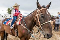 22 Ιουλίου 2017 NORWOOD ΚΟΛΟΡΆΝΤΟ - λίγο cowgirl στο ροντέο λεκανών SAN Miguel, κομητεία SAN Miguel Ζώο, κάουμποϋ Στοκ Εικόνες