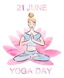 21 Ιουνίου απεικόνιση watercolor ημέρας γιόγκας ελεύθερη απεικόνιση δικαιώματος