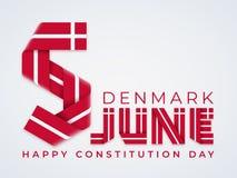 5 Ιουνίου, συγχαρητήριο σχέδιο ημέρας συνταγμάτων της Δανίας με τα δανικά χρώματα σημαιών r διανυσματική απεικόνιση