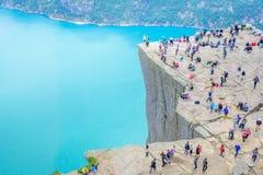 19 Ιουνίου 2016 Stavanger, Νορβηγία: Pulpit βράχος Preikestolen στοκ εικόνα