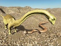 Ιουρασική προϊστορική πάλη δεινοσαύρων σκηνής δεινοσαύρων με την τρισδιάστατη απόδοση φιδιών Στοκ εικόνα με δικαίωμα ελεύθερης χρήσης