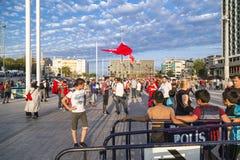 15 Ιουλίου διαμαρτυρίες προσπάθειας χτυπήματος στη Ιστανμπούλ Στοκ Εικόνα