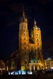 9 Ιουλίου 2017, Πολωνία, Κρακοβία Τετράγωνο αγοράς τη νύχτα Ο κεντρικός αγωγός χαλά Στοκ φωτογραφία με δικαίωμα ελεύθερης χρήσης