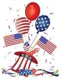 4 Ιουλίου Firecrackers και κομφετί διανυσματικό IL αμερικανικών σημαιών μπαλονιών καπέλων απεικόνιση αποθεμάτων