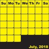 2018 Ιούλιος κίτρινος στο μαύρο ημερολόγιο αρμόδιων για το σχεδιασμό διανυσματική απεικόνιση