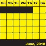 2018 Ιούνιος κίτρινος στο μαύρο ημερολόγιο αρμόδιων για το σχεδιασμό διανυσματική απεικόνιση