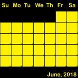2018 Ιούνιος κίτρινος στο μαύρο ημερολόγιο αρμόδιων για το σχεδιασμό μεγάλο ελεύθερη απεικόνιση δικαιώματος