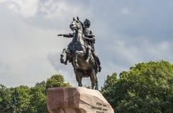 Ιππικό μνημείο του ρωσικού αυτοκράτορα Peter Ι στο ST Peters Στοκ Εικόνες