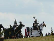 Ιππότες στην αναδημιουργία της μάχης Grunwald Στοκ Φωτογραφία