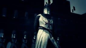 Ιππότες του Templar στο πλήρες τεθωρακισμένο σε ένα φρούριο