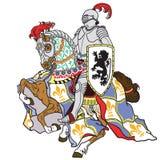 ιππότης αλόγων μεσαιωνικό&si διανυσματική απεικόνιση