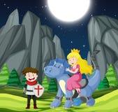 Ιππότης και πριγκήπισσα στο δάσος ελεύθερη απεικόνιση δικαιώματος