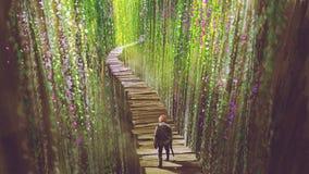 Ιππότης που περπατά στη γέφυρα κήπων στοκ εικόνα με δικαίωμα ελεύθερης χρήσης