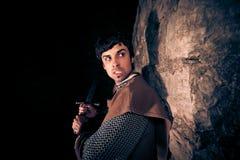 Ιππότης που υπερασπίζει το φρούριό του στοκ εικόνες