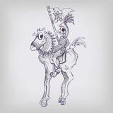 Ιππότης σχεδίων σε ένα άλογο Στοκ Εικόνα