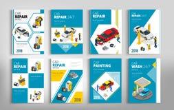 Ιπτάμενα για την επισκευή αυτοκινήτων ή την έννοια υπηρεσιών αυτοκινήτων διανυσματική απεικόνιση