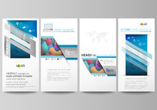 Ιπτάμενα καθορισμένα, σύγχρονα εμβλήματα πρότυπα ύφους επιχειρησιακής εταιρικά απεικόνισης Πρότυπο κάλυψης, επίπεδα σχεδιαγράμματ Στοκ Φωτογραφίες