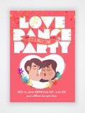 Ιπτάμενο, έμβλημα ή τεύχος για το κόμμα χορού αγάπης Στοκ Εικόνες