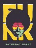 Ιπτάμενο γεγονότος κομμάτων Disco Συλλογή της δημιουργικής εκλεκτής ποιότητας αφίσας Διανυσματικό αναδρομικό πρότυπο ύφους Μαύρος Στοκ Εικόνα