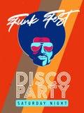 Ιπτάμενο γεγονότος κομμάτων Disco Συλλογή της δημιουργικής εκλεκτής ποιότητας αφίσας Διανυσματικό αναδρομικό πρότυπο ύφους Μαύρος Στοκ Φωτογραφίες