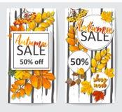 Ιπτάμενο δύο πώλησης φθινοπώρου με τα φύλλα φθινοπώρου στοκ εικόνες