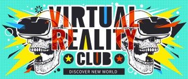 Ιπτάμενο εικονικής πραγματικότητας με τα κρανία Στοκ φωτογραφία με δικαίωμα ελεύθερης χρήσης