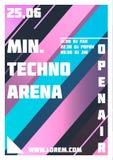 Ιπτάμενο κόμματος Ελάχιστος, χώρος Techno Ιπτάμενο γεγονότος μουσικής ή πρότυπο απεικόνισης εμβλημάτων ελεύθερη απεικόνιση δικαιώματος