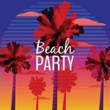 Ιπτάμενο κόμματος παραλιών, Baner, σχέδιο πρόσκλησης με το τυπογραφικό σχέδιο στο υπόβαθρο φύσης με τους φοίνικες Ωκεανός ηλιοβασ ελεύθερη απεικόνιση δικαιώματος
