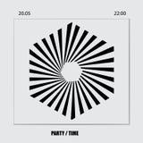 Ιπτάμενο, λογότυπο, έμβλημα για ένα κόμμα Πρότυπο για την αφίσα του DJ, έμβλημα Ιστού, υπερεμφανιζόμενο διανυσματική απεικόνιση