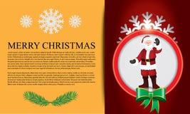 Ιπτάμενο με σχεδιασμένους περίληψη snowflake και Άγιο Βασίλη Στοκ εικόνες με δικαίωμα ελεύθερης χρήσης