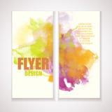 Ιπτάμενο με την επίδραση watercolor Καλλιτεχνικό πρότυπο με το grunge Οράν Στοκ φωτογραφίες με δικαίωμα ελεύθερης χρήσης