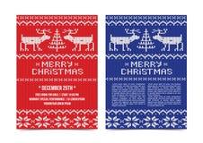 Ιπτάμενο προτύπων πρόσκλησης διακοπών Χριστουγέννων Στοκ Εικόνα