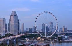 Ιπτάμενο της Σιγκαπούρης το βράδυ Στοκ Φωτογραφία