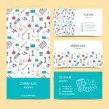 Ιπτάμενο, φυλλάδιο και επαγγελματικές κάρτες για τις χημικές, επιστημονικές και ιατρικές επιχειρήσεις διάνυσμα Στοκ Εικόνες