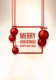 Ιπτάμενο Χριστουγέννων με τις κόκκινες σφαίρες Χριστουγέννων Στοκ Εικόνες