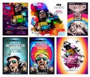 Ιπτάμενο Disco λεσχών που τίθεται με τη μορφή του DJ και τα ζωηρόχρωμα εξελικτικά υπόβαθρα απεικόνιση αποθεμάτων