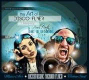 Ιπτάμενο Disco λεσχών που τίθεται με DJs και τα ζωηρόχρωμα υπόβαθρα απεικόνιση αποθεμάτων