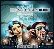 Ιπτάμενο Disco λεσχών που τίθεται με DJs και τα ζωηρόχρωμα υπόβαθρα διανυσματική απεικόνιση