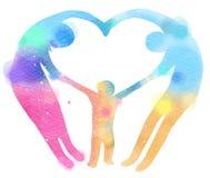 Διπλή απεικόνιση έκθεσης Ευτυχής οικογένεια που κατασκευάζει την καρδιά να υπογράψει Στοκ Εικόνες