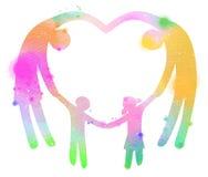 Διπλή απεικόνιση έκθεσης Ευτυχής οικογένεια που κατασκευάζει την καρδιά να υπογράψει Στοκ Εικόνα