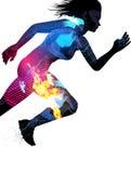Διπλή τρέχοντας γυναίκα έκθεσης Στοκ Φωτογραφίες