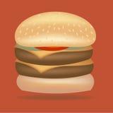 διπλό burger βόειου κρέατος με το διάνυσμα τυριών Στοκ εικόνες με δικαίωμα ελεύθερης χρήσης