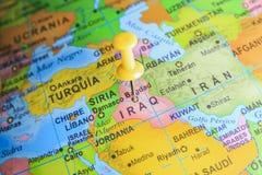 Ιράκ που καρφώνεται σε έναν χάρτη της Ασίας στοκ εικόνα με δικαίωμα ελεύθερης χρήσης