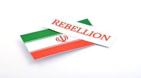 Ιρανική σημαία με την εξέγερση λέξης σε το που απομονώνεται στο άσπρο backgro Στοκ Φωτογραφία