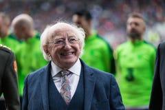 Ιρλανδία Πρόεδρος Michael D Higgins στην πίσσα Pairc Ui Chaoimh για την αντιστοιχία φόρου του Liam Μίλερ στοκ φωτογραφίες