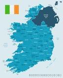 Ιρλανδία - χάρτης και σημαία - λεπτομερής διανυσματική απεικόνιση ελεύθερη απεικόνιση δικαιώματος